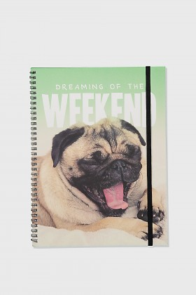 Large A4 Cute Pug Notebook