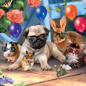 3D Pug & Friends Birthday Card
