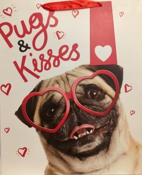 Pugs & Kisses Large Pug Gift Bag For All Occasions