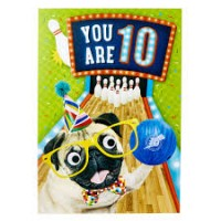 Age 10 Pug Birthday Card