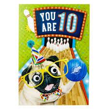 Age 10 Pug Birthday Card