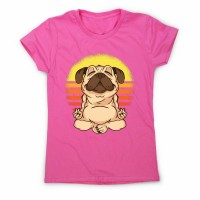 Meditating Pug Ladies T Shirt (Available in 9 colours)