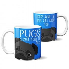 Exclusive Personalised Black Pug Mug