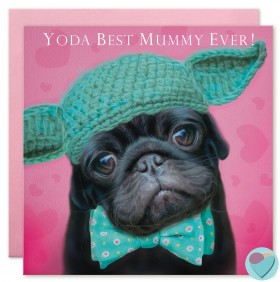 Cute Black Pug Mothers Day Card
