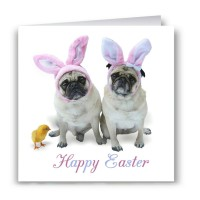 Pug Bunnies Easter Card