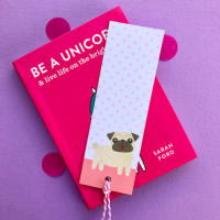 Cartoon Pug Book Mark