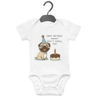 Pug Personalised Unisex Birthday Baby Grow