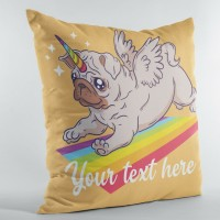 Cute Pug Unicorn Personalised Cushion Cover