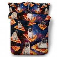 Cool Pizza Pug Single Duvet Set