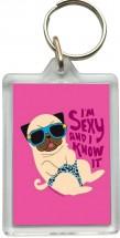 Funny Pug Key Ring