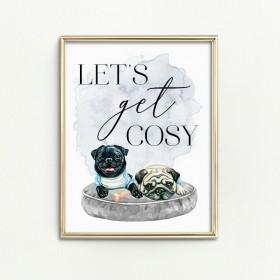 A4 Cute Pug Print (Print only no frame)