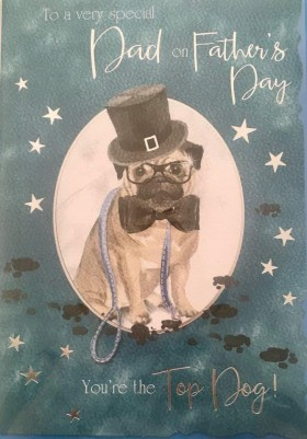 Cute Pug Fathers Day Card