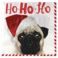 Pug Christmas Napkins Pack Of 10