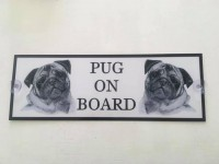 Pug on Board Window Sign
