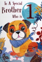 Age 1 Brother Pug Birthday Card