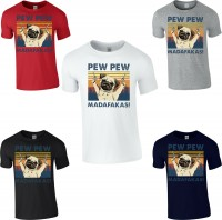 Kids Unisex Pug Pew Pew T Shirt (Available in 4 colours)