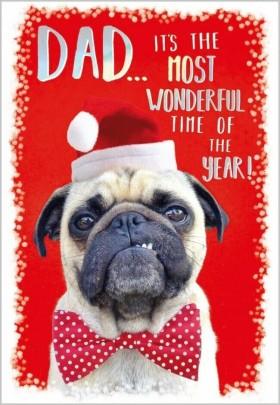 Funny Pug Dad Christmas Card