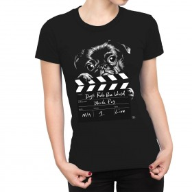 Cute Black Pug Ladies T Shirt