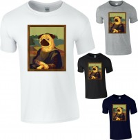 Funny Unisex Mona Pug T Shirt (Available in 4 colours)