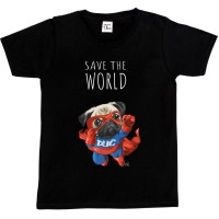 Kids Unisex Pug Save The World T Shirt