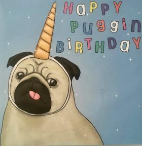 Pug Unicorn Birthday Card