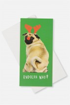 Cute Pug Money Wallet Christmas Card