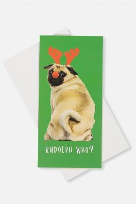 Cute Pug Money Wallet Christmas Card