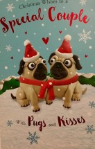 Festive Pug Large Special Couple  Christmas Card