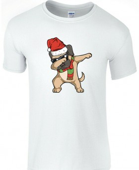 Cute Kids Dabbing Pug Christmas Unisex T Shirt (Available in 3 colours)