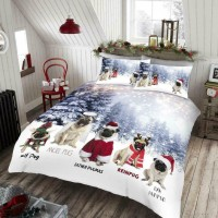 Cute Pug Christmas Duvet Set Double
