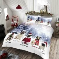 Cute Pug Christmas Duvet Set King