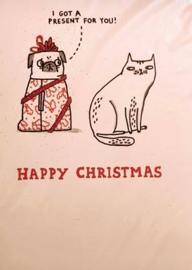 Gemma Correll Pug & Cat Funny Christmas Card