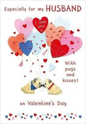 Pug Husband Valentines Day Card