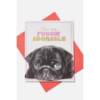 Cute Black Pug Pop Up Blank Card For All Occasions