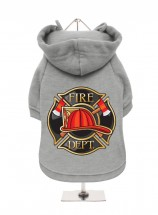 Unisex Grey Fire Department Fleece Lined Hoodie