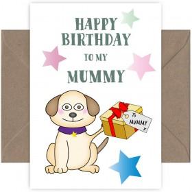 To Mummy Cute Pug Birthday Card