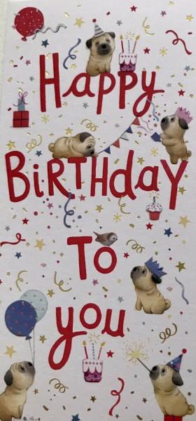 Pug Birthday Money Wallet Card