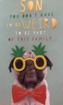 Funny Son Pug Birthday Card