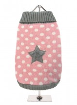 URBAN PUP GREY & PINK STAR SWEATER