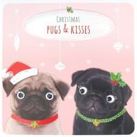 Cute  Pugs & Kisses  Christmas Card