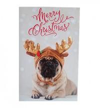 Cute Small Reineer Pug Christmas Card