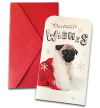 Cute Pug Puppy Money Wallet Christmas Card